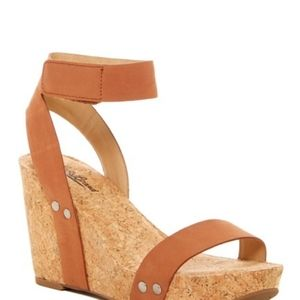 Lucky Brand Mcdowell Leather Ankle Strap Wedge